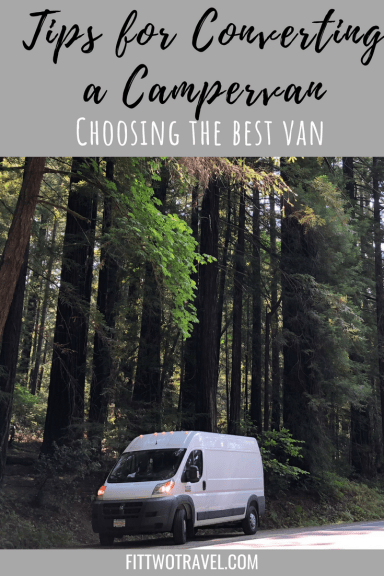 Vanlife Conversion Guide. TIps for choosing the best van for a campervan conversion, including comparison between the sprinter van, promaster and ford transit. Find out which van will be the best for your campervan conversion Fittwotravel.com