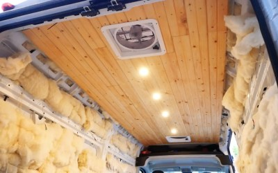 Ceiling Installation in DIY Campervan Conversion