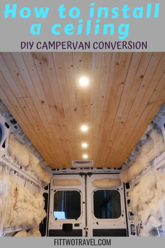 DIY campervan ceiling installion, installing tongue and groove planks in our campervan