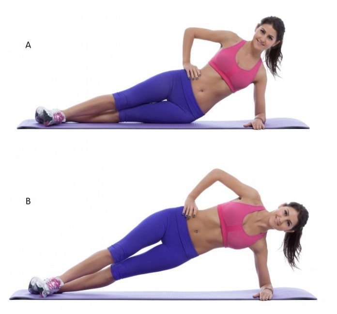 Step by step instructions for abs: With your weight supported on the elbow and side of the foot, lower your hips to the floor. (A) Lie on your side. Position yourself on your bottom elbow and the side of your foot. Lift your hips in the air, forming a straight line between your ankles, hips, and shoulders. Brace your abs and squeeze your glutes. Pause, and then return to the starting position. (B)