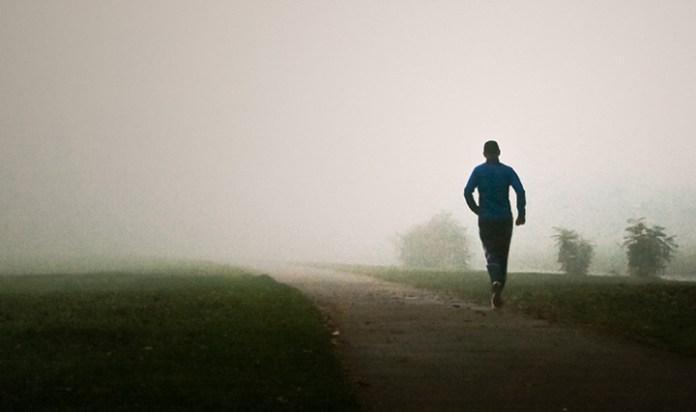 Jogger in fog