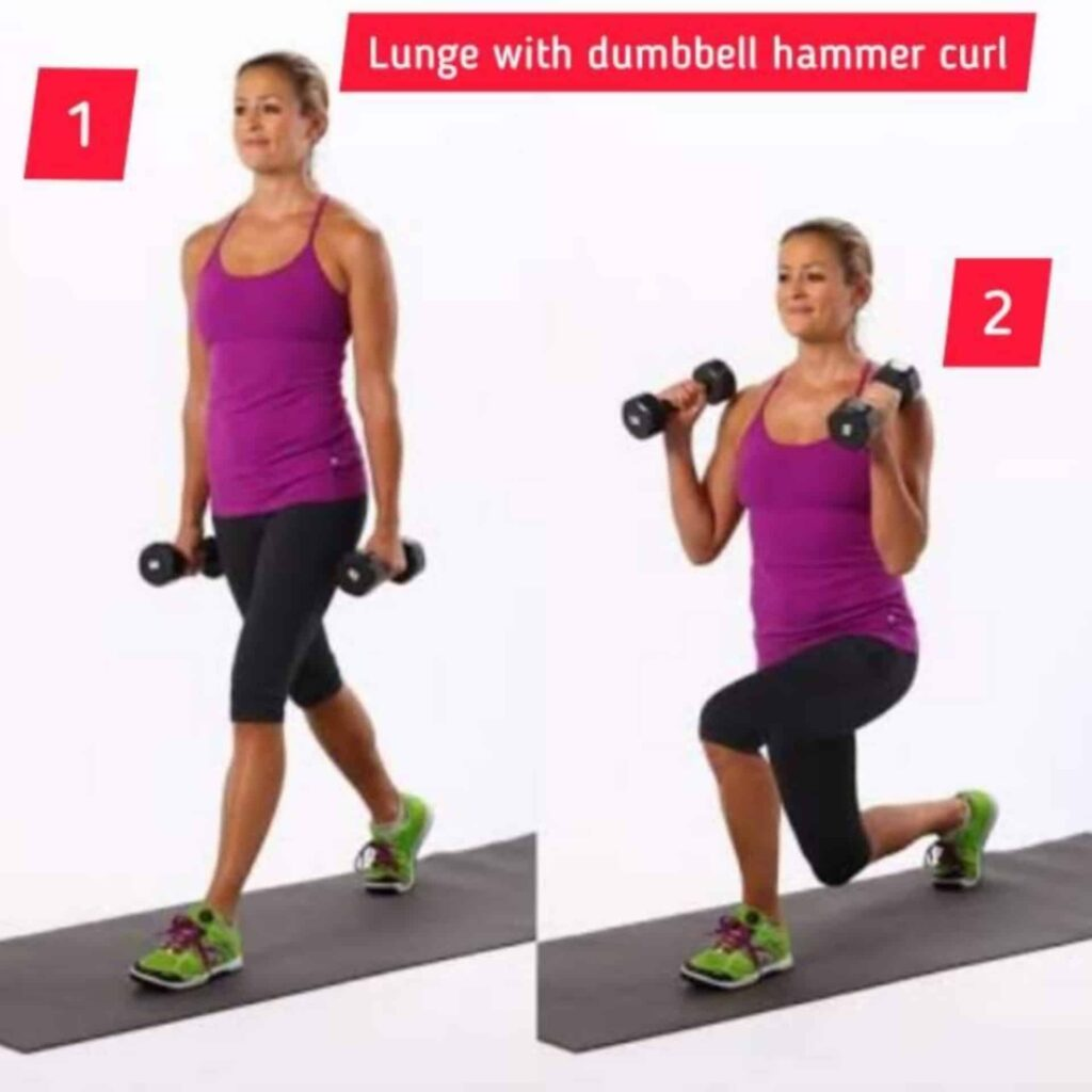 Lunge with dumbbell hammer curl – circuit training - FITZABOUT