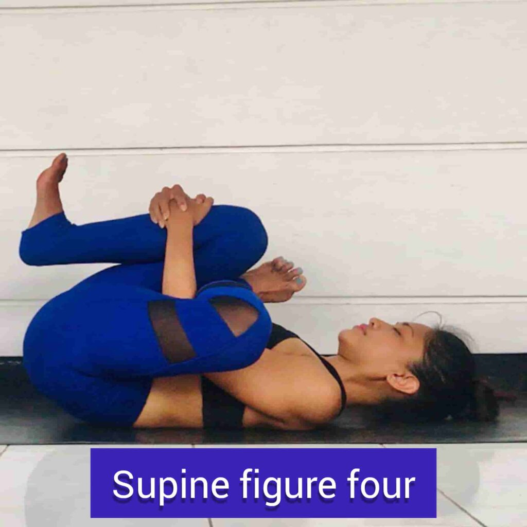 Supine Figure Four for stress relief yoga - FITZABOUT