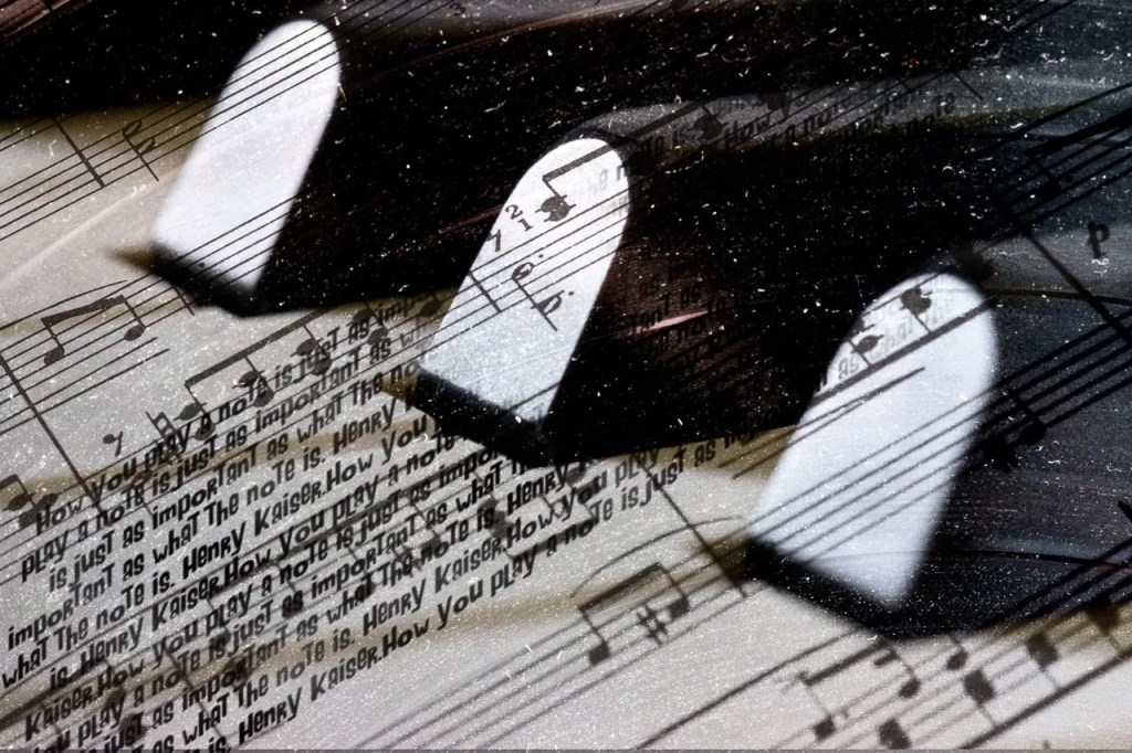 fine art composite photo of piano and music
