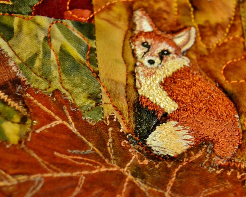 red fox art applique fall background