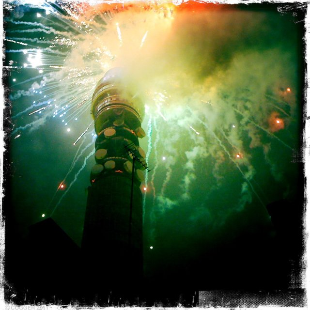 Fireworks from the top of the BT Tower in blaze of colour. Picture: Matt Cogger