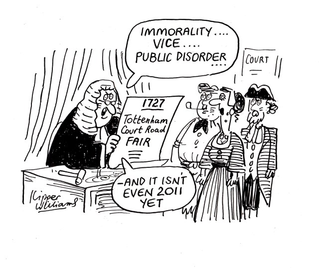 """Cartoon depicting judge in 1727 reading out charges and saying: """"Immorality... Vice... Public disorder... — and it isn't even 2011 yet."""""""