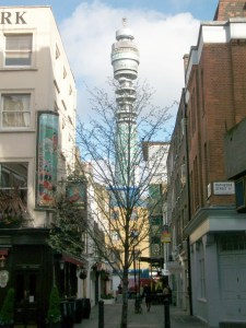 View looking north at Charlotte Place in Fitzrovia.