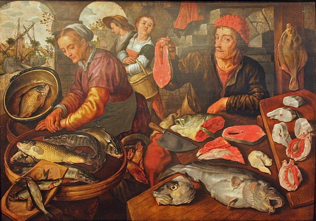Painting of fish stall.