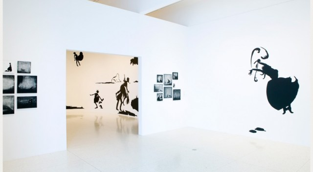 Art installation showing various works.