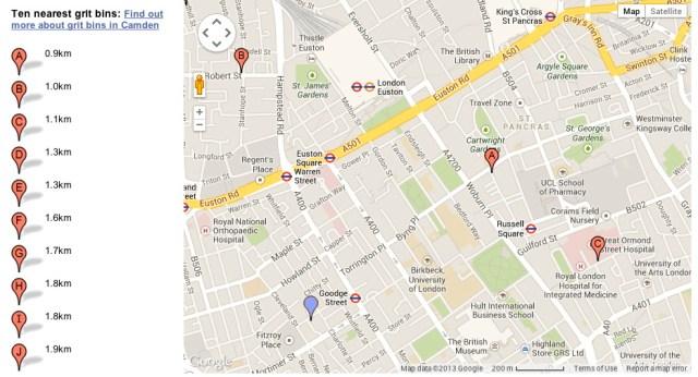 Map of grit bin locations.