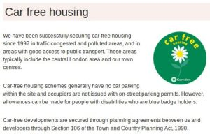 Car free housing statement from Camden Council.