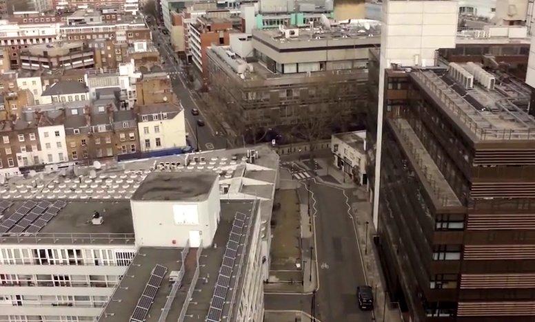 Aerial view of buildings.