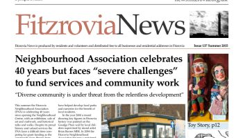 Top half of front page of Fitzrovia News.
