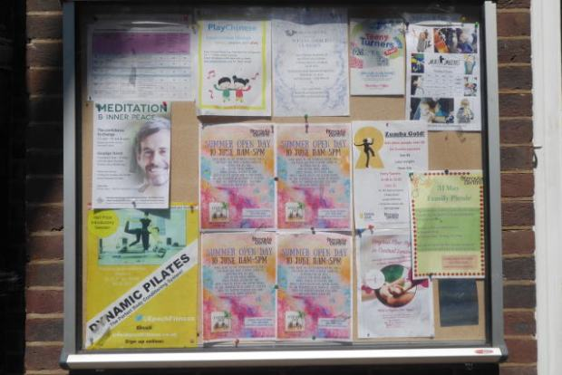 Posters on notice board.