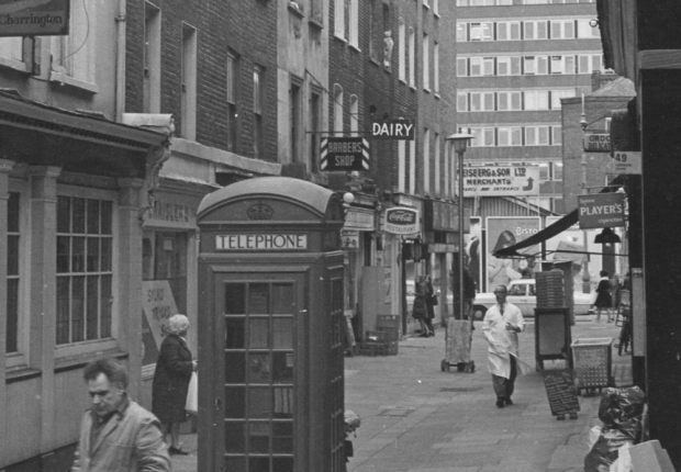 Black and white photograph of Charlotte Place in 1970s or early 1980s.