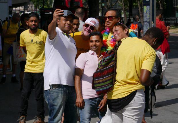 People taking a selfie.