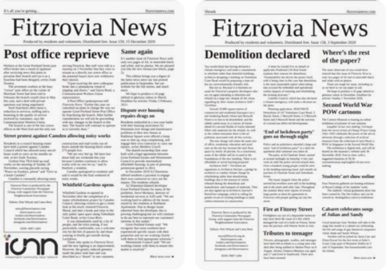 Front pages of newspaper.