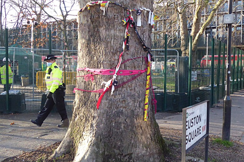 Trunk of a London plane tree wrapped in scarfs and ribbons.