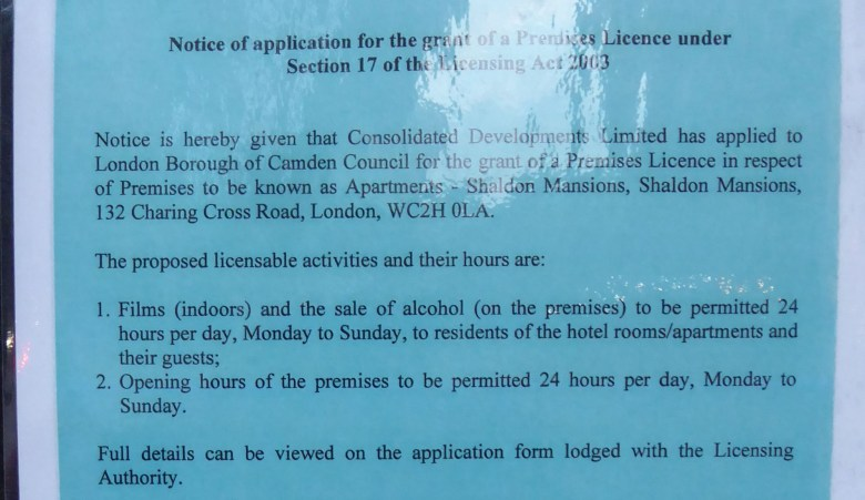 Blue notice of a premises licence application.