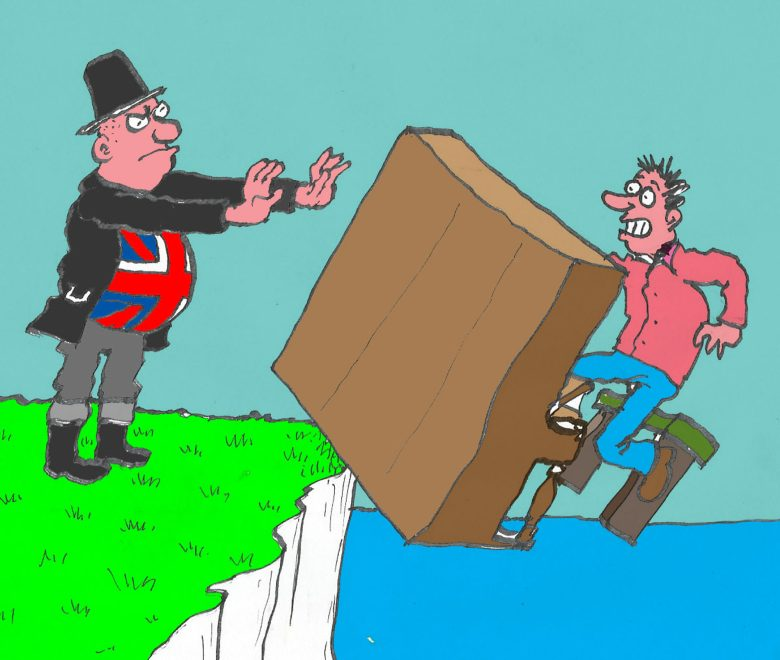 Satirical illustration of man in Union flag shirt pushing piano and pianist off white cliff.