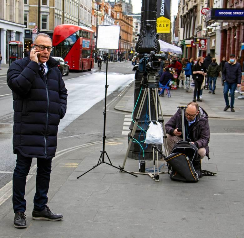 News production team on Tottenham Court Road.