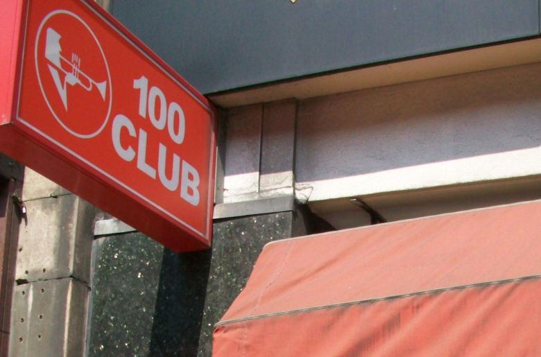 Sign outside 100 Club, Oxford Street.