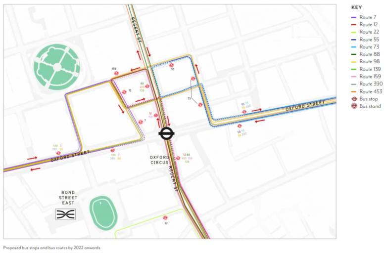 Proposed bus routes around Oxford Circus.
