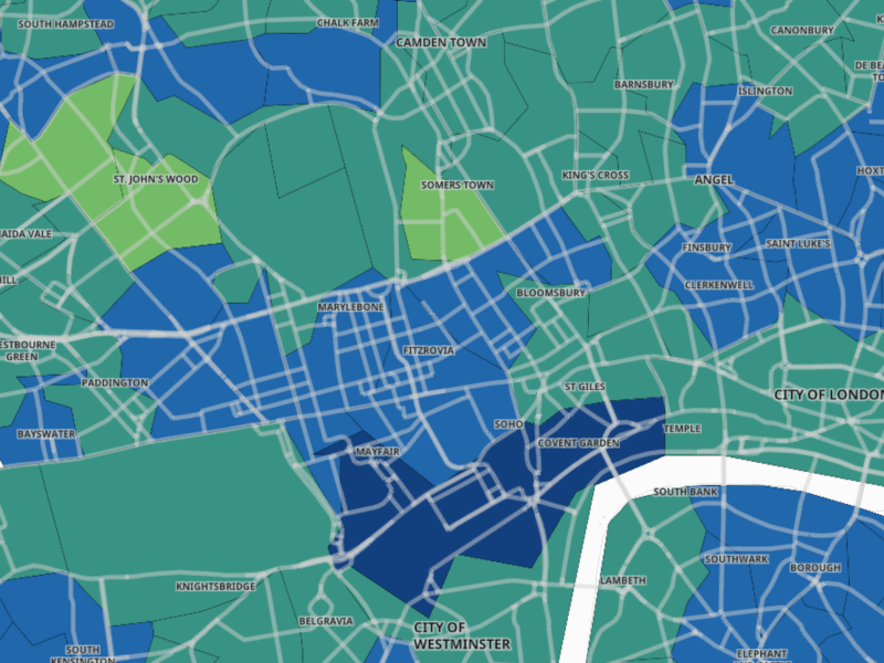 Map of Covid-19 rates across central London.