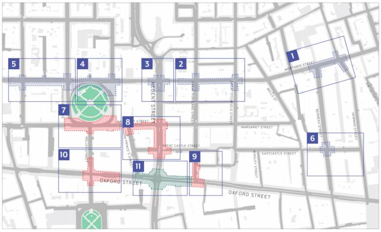 Map showing location of the 11 areas for changes under the Oxford Street District scheme.