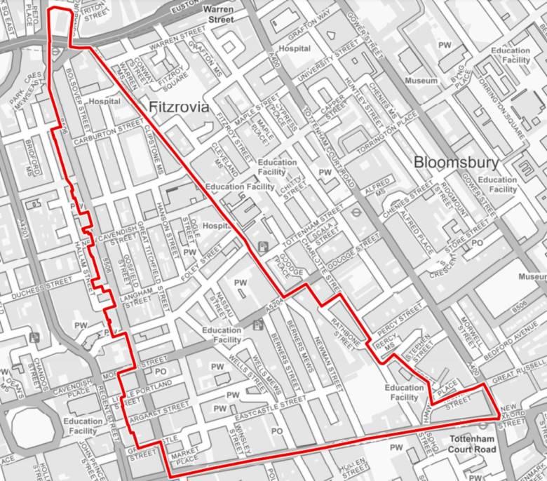 Map of Fitzrovia West Neighbourhood Area.