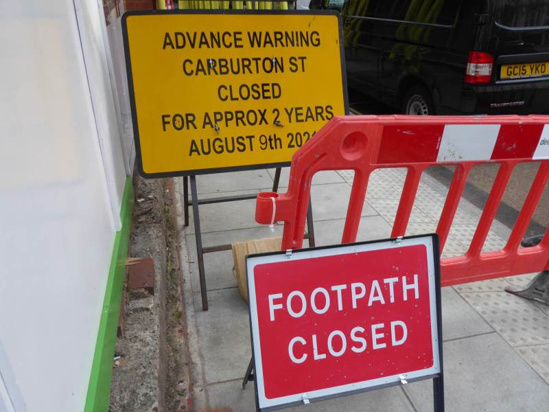 Carburton Street closed sign.