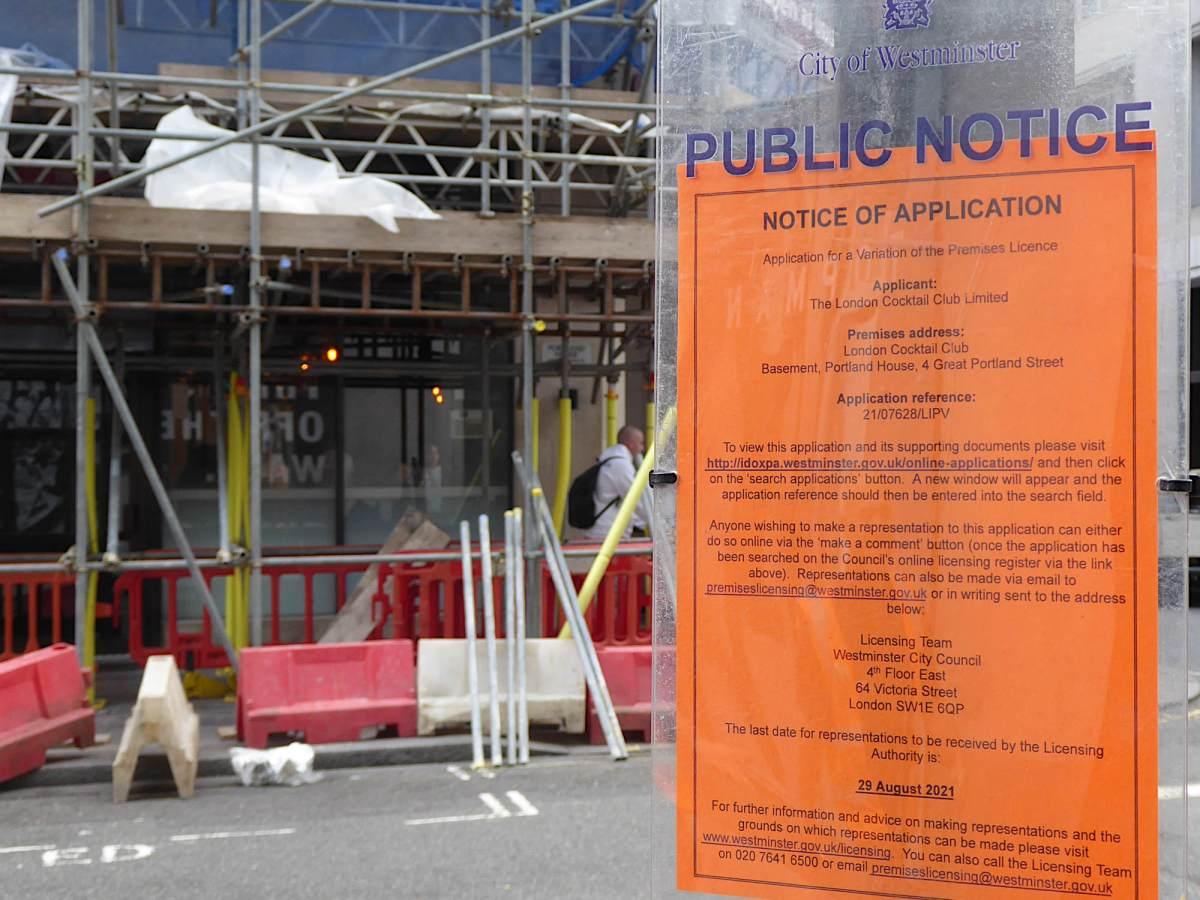 Licensing notice outside 4 Great Portland Street.