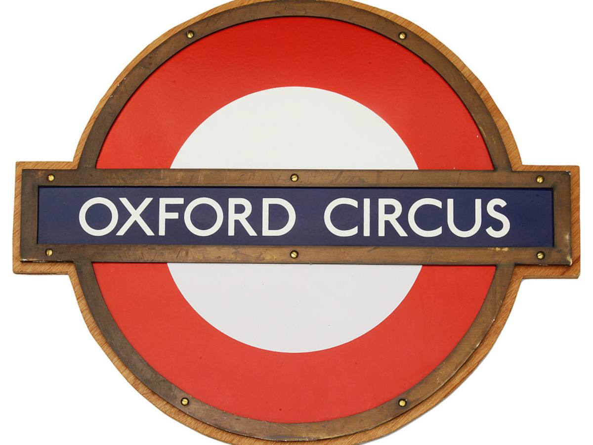 Oxford Circus red and blue Underground station roundel.