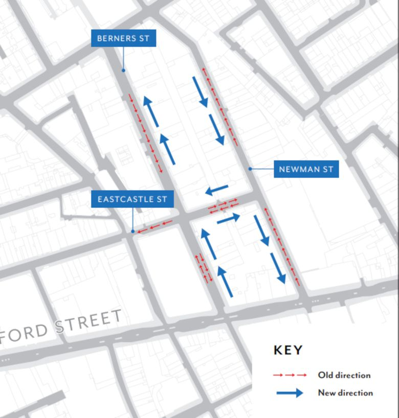 Drawing showing old and new traffic directions in Berners Street and Newman Street, Fitzrovia, London.
