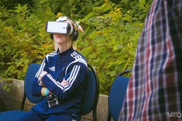 Girl tries VR at Camp Wavelength