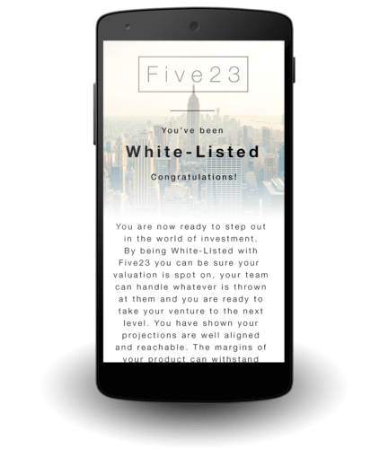 Five23 | Nexus 5 | Startup Valuation