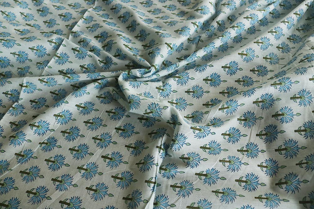 Blue Thistle Indian Block Print Summer Cotton