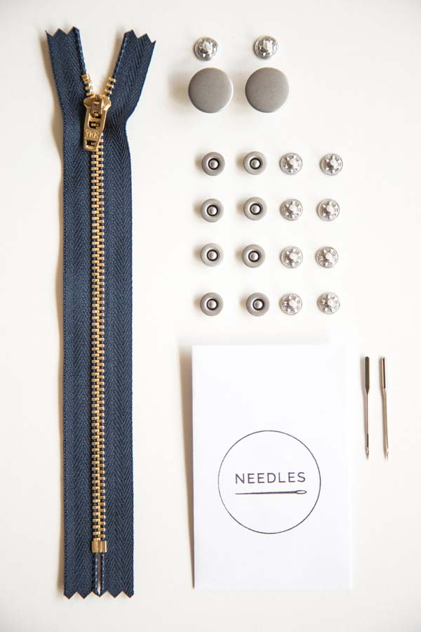 Closet Core Zipper Fly Jeans-Making Hardware Kit -- Silver