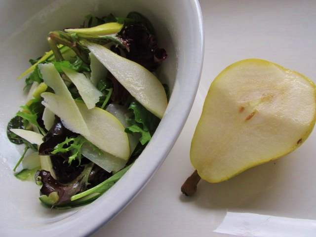Pear and grana padano salad – simple, and a little bit fancy