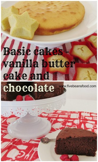 """Simple recipes for a vanilla butter cake and a moist and tasty chocolate cake. These are our """"go to"""" cake recipes for any occasion."""