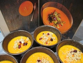Carrot soup with recipe book