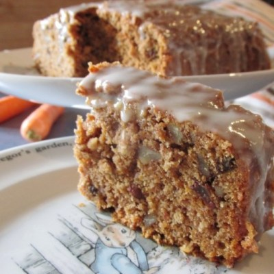 Delicious carrot cake with lemon glaze