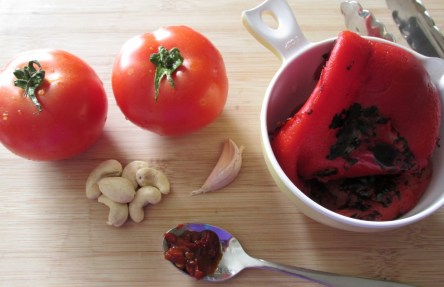 ingredients for roast capsicum and tomato sauce