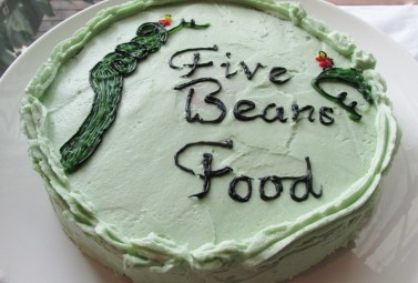 five beans official launch celebration cake