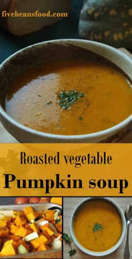 A delicious pumpkin soup made with roasted vegetables and chicken stock