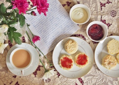 scones, jam and cream and a cup of tea