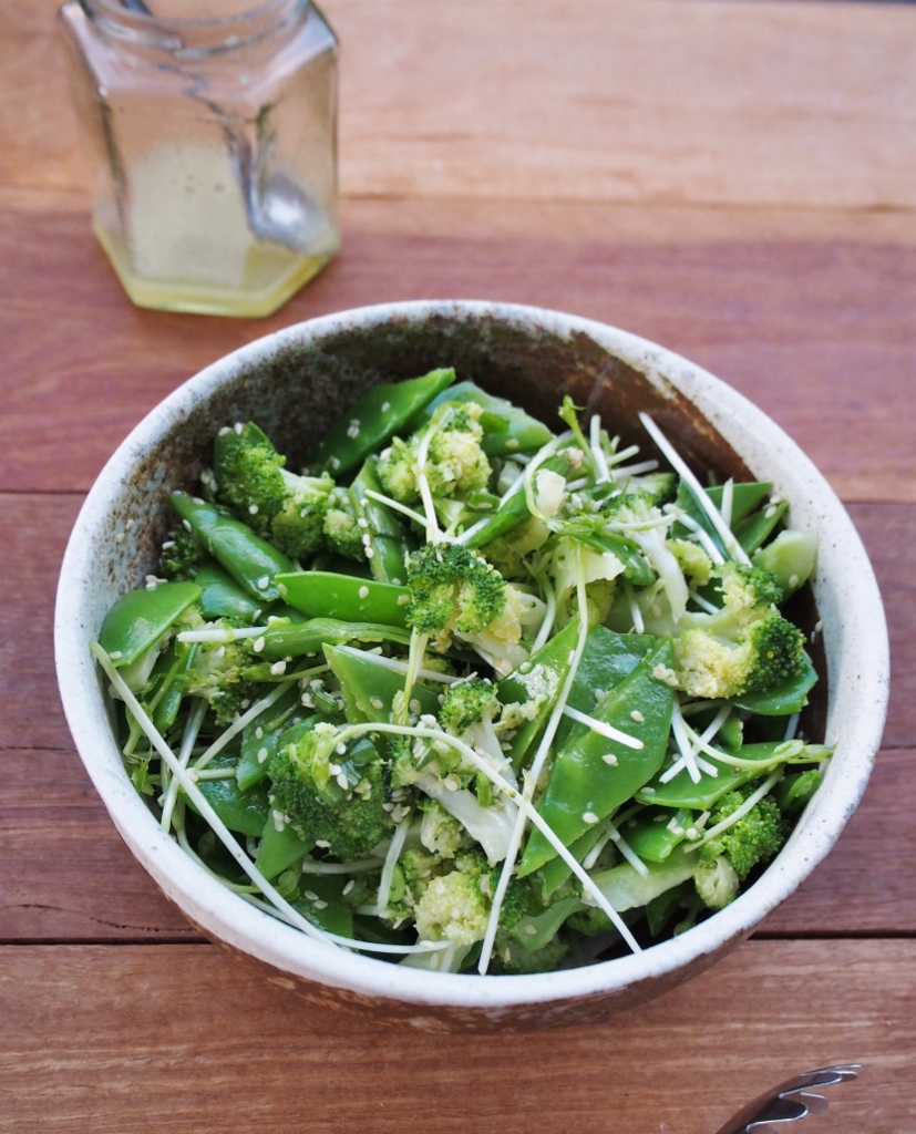 Broccoli and snow pea sesame salad