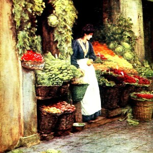 Vintage grocer painting