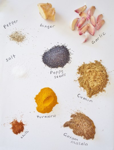 Spices needed for an Indian lamb slow cooker dinner